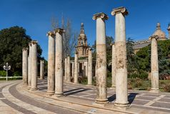 As colunas antigas de Joan Maragall jardinam em Montjuic, Barcelona Imagem de Stock Royalty Free