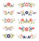 As composições florais coloridas decorativas ajustaram 2 ilustração stock