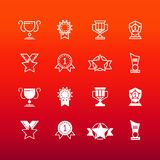 As concessões, o troféu e os prêmios alinham e esboçam ícones ilustração do vetor