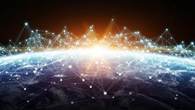 As conexões sistema e as trocas de dados na terra 3D do planeta rendem Imagem de Stock Royalty Free