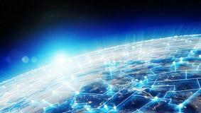As conexões sistema e as trocas de dados na terra 3D do planeta rendem Imagens de Stock Royalty Free