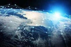 As conexões sistema e as trocas de dados na terra 3D do planeta rendem Fotografia de Stock Royalty Free