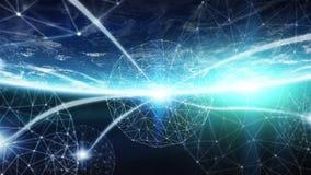 As conexões sistema e as trocas de dados na terra 3D do planeta rendem Imagem de Stock
