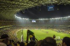 As confederações colocam 2013 - Brasil x Uruguai - estádios de Minerao Fotografia de Stock Royalty Free