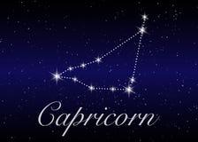 As constelações do zodíaco do Capricórnio assinam no céu estrelado bonito com galáxia e espaço atrás Constelação do símbolo do ho ilustração do vetor