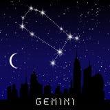 As constelações do zodíaco dos Gêmeos assinam no céu estrelado bonito com galáxia e espaço atrás Constelação do símbolo do horósc ilustração stock