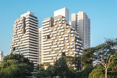 As construções aproximam a avenida 23th maio Avenida 23 de maio no Pa do Sao Imagens de Stock Royalty Free