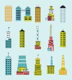 As construções industriais e as fábricas ajustaram-se para o construtor da cidade Fotografia de Stock