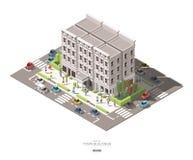 As construções isométricas da cidade com povos, carro e árvore vector o ícone ilustração royalty free