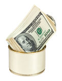 Contas dos dólares americanos Na lata do metal Imagem de Stock Royalty Free