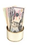 Contas dos dólares americanos Na lata do metal Foto de Stock