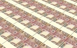 As contas dos dinares de Jordânia empilharam o fundo Fotografia de Stock