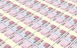 As contas dos riais de Arábia Saudita empilharam o fundo Imagem de Stock