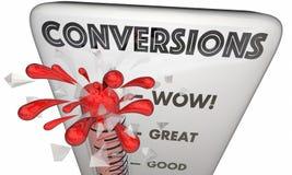 As conversões venderam o termômetro fechado 3d Illustrat dos negócios dos clientes ilustração do vetor
