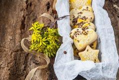 As cookies da sobremesa com sementes de sésamo em um fundo da mola florescem Imagem de Stock