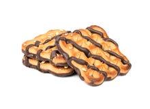 As cookies derramaram o chocolate fotografia de stock