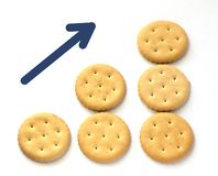 As cookies em três fileiras pisam com apontar acima da seta fotografia de stock