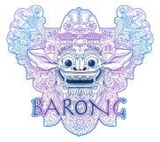 As cores azuis e violetas rabiscam a máscara de Barong do deus do leão do balinese do vetor do estilo isolada no branco Foto de Stock