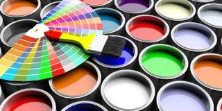 As cores catalogam e a escova de pintura no fundo de madeira ilustração 3D ilustração royalty free