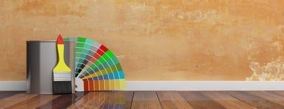As cores catalogam e a escova de pintura no fundo de madeira ilustração 3D ilustração do vetor