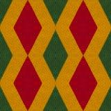 As cores da reggae fazem crochê o fundo feito malha do estilo, vista superior Colagem com reflexão de espelho com rombo Monta sem ilustração stock
