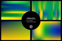 As cores de Brasil borraram os fundos ajustados Fotografia de Stock Royalty Free