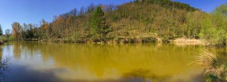As cores diferentes da água de um pântano pequeno imagem de stock