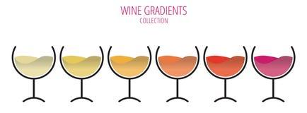 As cores do vinho - grupo de vidros em seguido Imagem de Stock