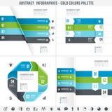 As cores Infographics abstrato do frio ajustaram 2 Foto de Stock Royalty Free