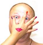 As cores mágicas dos cosméticos das mulheres fazem o homem melhor Fotografia de Stock Royalty Free