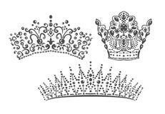 As coroas ajustadas escrevem o vetor dos elementos do projeto do damasco ilustração stock