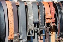 As correias de couro dirigem feito Fotos de Stock Royalty Free