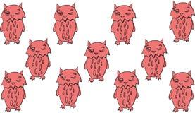 As corujas ajustaram a chegada doce da tendência do pássaro do teste padrão ilustração royalty free