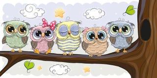 As corujas bonitos estão sentando-se em uma refeição matinal ilustração royalty free