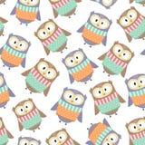 As corujas bonitos no inverno vestem o teste padrão sem emenda Fotos de Stock