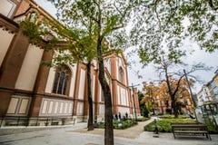 As cotovias velhas colocam a igreja Altlerchenfelder Kirche em Viena Áustria foto de stock
