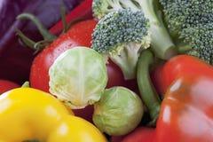 As couves-de-Bruxelas da couve vermelha do brokkoli do tomate das pimentas de Bell fecham-se acima Fotografia de Stock