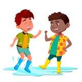 As crianças africanas e asiáticas nas botas saltam na poça após o vetor da chuva Ilustração isolada ilustração stock