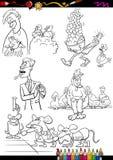 As crianças ajustaram a página da coloração dos desenhos animados Fotografia de Stock