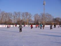 As crianças alegres montam no inverno que patinam na pista grande foto de stock