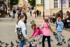 As crianças alimentam pombos em um quadrado em Vitebsk Fotos de Stock Royalty Free