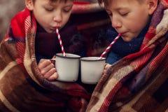 As crianças bebem o chocolate quente sob a cobertura morna em férias do Natal da floresta do inverno foto de stock royalty free