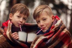 As crianças bebem o chocolate quente sob a cobertura morna em férias do Natal da floresta do inverno imagem de stock