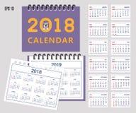 As crianças calendar pelo ano 2018 da parede ou da mesa, 2019 ilustração do vetor