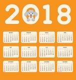 As crianças calendar pelo ano 2018 da parede ou da mesa Ilustração do Vetor
