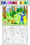 As crianças colorem, seta brancas e pretas na floresta com animais ilustração royalty free