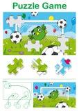 As crianças confundem com um goleiros bonito do futebol do pássaro Fotos de Stock