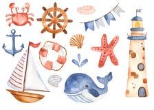 As crianças da aquarela ajustaram o veleiro bonito dos desenhos animados, farol, baleia ilustração stock