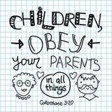 As crianças da Bíblia da rotulação, obedecem seus pais ilustração do vetor