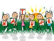 As crianças da natureza indicam a criança das árvores e cênico ilustração royalty free